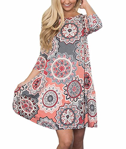 Women's 3/4 Sleeve Floral Printed Tunic Dresses Long Shirts Blouses Tunic Tops for Leggings Printed Tunic Top