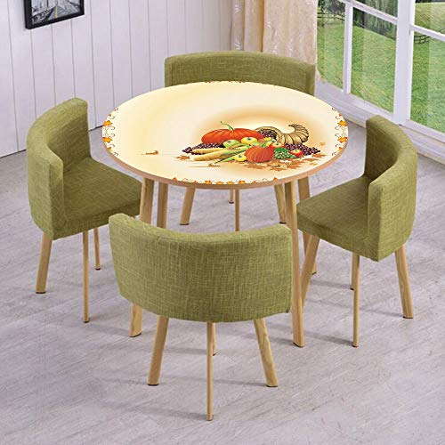 iPrint Round Table/Wall/Floor Decal Strikers/Removable/Maple Tree Frame with Rustic Composition for Thanksgiving Halloween Dinner Food/for Living Room/Kitchens/Office Decoration ()