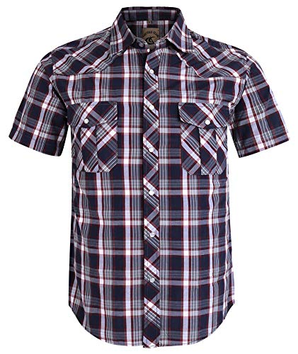 (Coevals Club Men's Button Down Plaid Short Sleeve Work Casual Shirt (Red & Gray #3, M) )