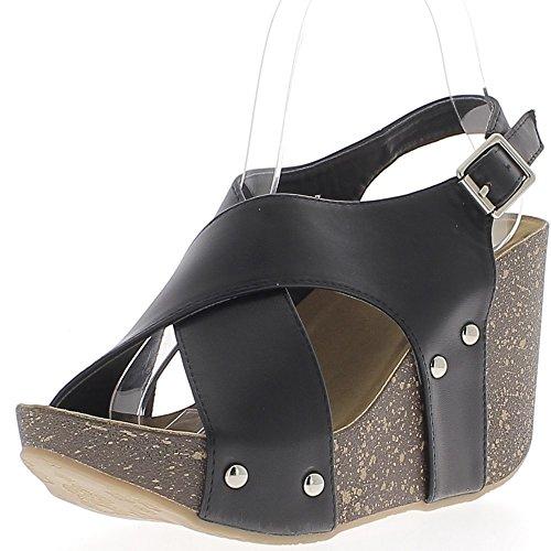 Sandales compensées noires à talon 10 cm avec larges brides entrecroisées