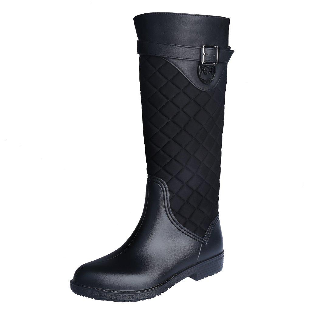 ZJHEHE Rain Boots for Womens Fashion Waterproof Spliced Rainshoes (7.5)