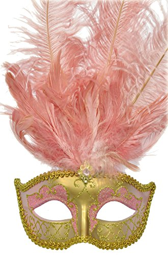 Toomey's Mardi Gras Gold Form Fitting Mask w/Gold & Light Pink Glitter Light Pink (Venetian Mask With Gold Trim)