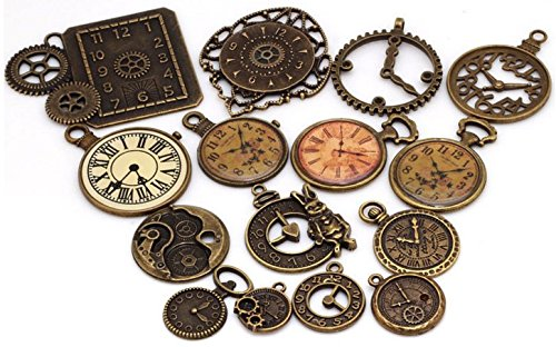 15 Pc Antiqued Charm Lot - Clock Face, DIY Crafts, Gears, Jewelry Making, Steampunk Pendants (As Pictured)