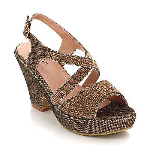 Plataforma Señoras Mujer Marrón Boda Zapatos Punta De Partido Abierta Tacón Noche Paseo Tamaño Diamante Casual Cuña Sandalias 1Fd7qf1r