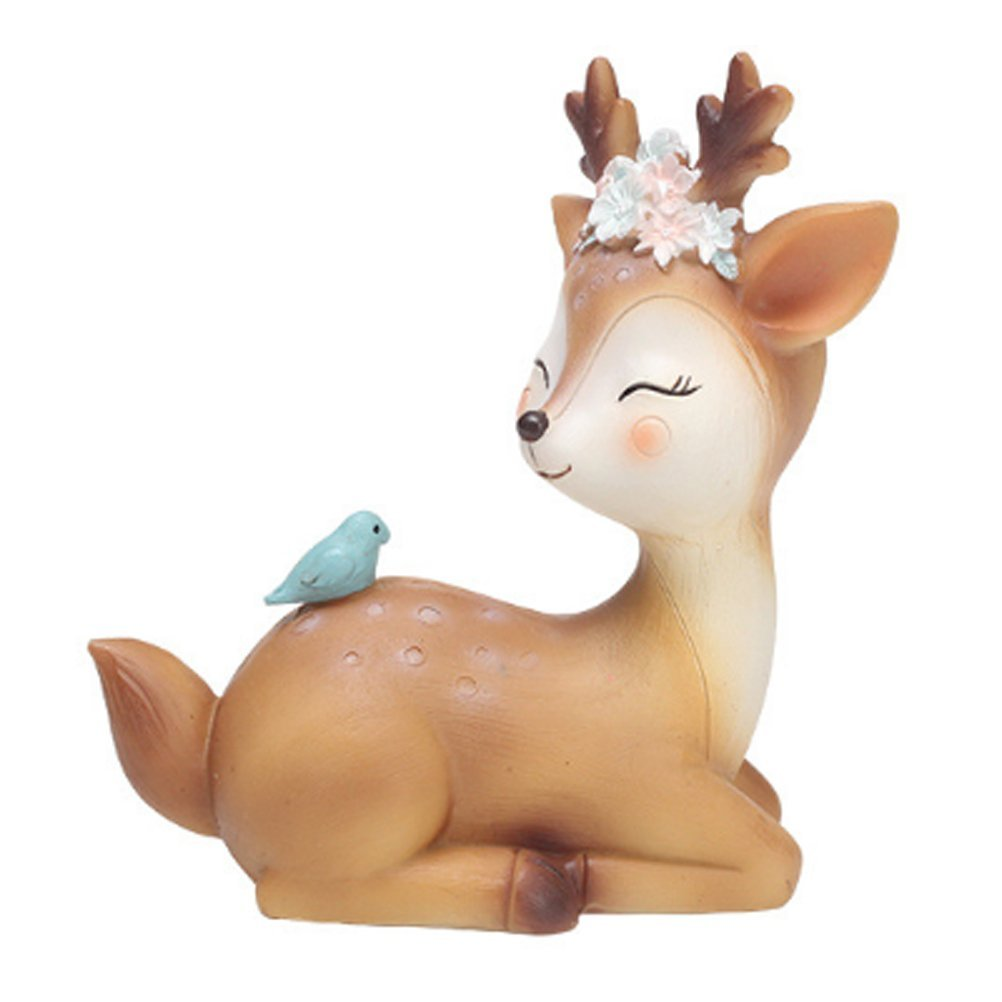 HAPTIME 4.3'' Cute Deer Figurines Doe Fawn Animal Resin Ornament Home Desktop Decoration