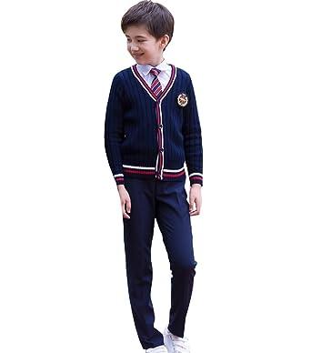 6d28c82b80c31 Emfay 男の子 フォーマル イギリス風 5点セット カーディガン シャツ 子供服 スーツ キッズ 紳士服
