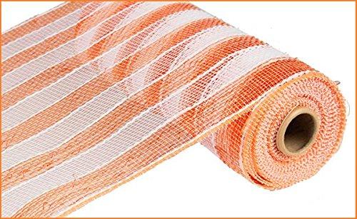 10 inch x 30 feet Deco Poly Mesh Ribbon (Orange & White Striped)