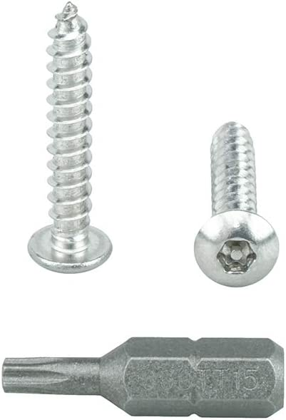 Qty 25 by Bridge Fasteners #6 x 1 Flat Head Torx Security Sheet Metal Screws Includes bit 18-8 Stainless Steel Tamper Resistant