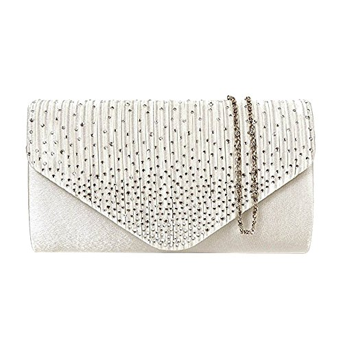 Fashion Purse Envelope Clutch Bag Colours 11 Womens Ivory Diamonte Shoulder FTwCqY