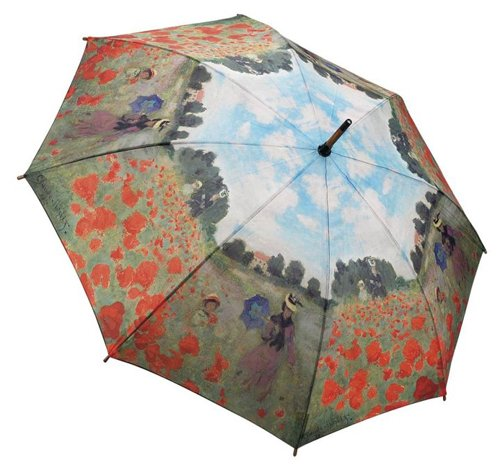 Monet Artwork Floral Poppy Field Large Long Stick Handle Style Umbrella Auto Release Automatic Open