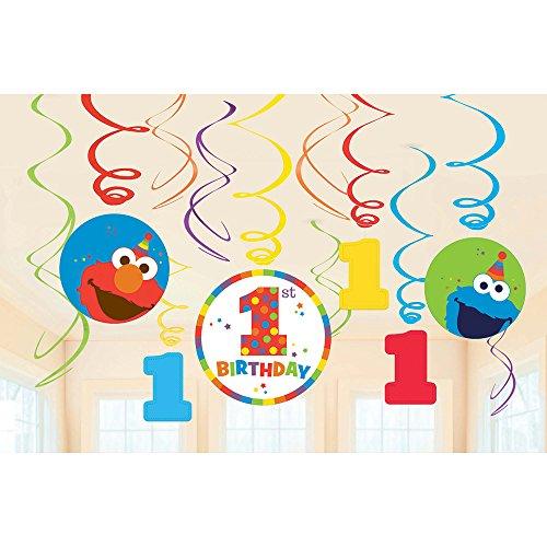 (Sesame Street 1st Birthday 'Elmo Turns One' Hanging Swirl Decorations (12pc))