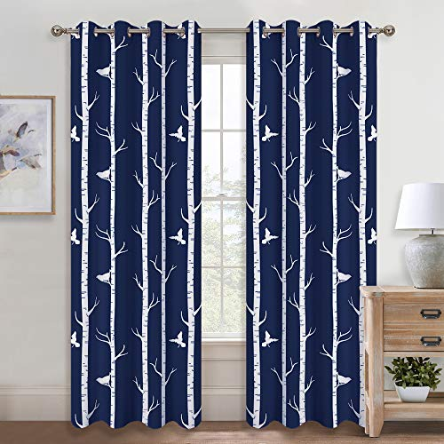 KGORGE Country Style Curtain Panels - Two-Tone Birds & Tree Pattern Window Treatment Insulated Room Darkening Draperies Eyelet Top for Sliding Door/Living Room, 95