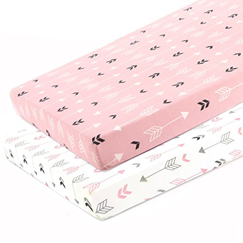 Stretchy Fitted Pack n Play Playard Sheet Set-Brolex 2 Pack Portable Mini Crib Sheets,Convertible Playard Mattress Cover,Ultra Soft Material,Pink & White Arrow Design ()