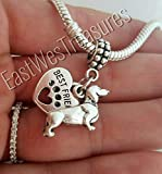 EWT Dachshund Sausage dog Charm Pendant for Pandora bracelets and any chain necklace
