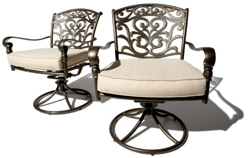 Strathwood St. Thomas Cast Aluminum Swivel Dining Arm Chair, Set of 2