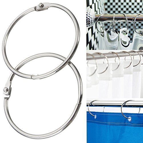 Wholesale Geelyda 6PCS Metal Round Shower Curtain Hooks Book Rings Scrapbooking Nickel Plated Binding Rings Keychain Key Rings 3 inches