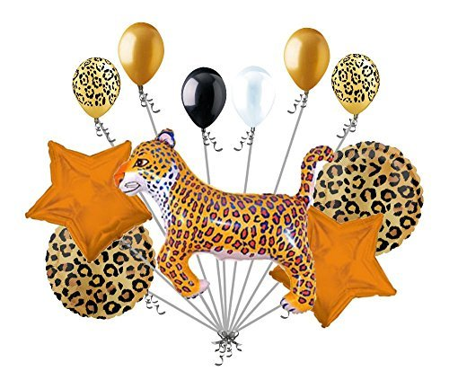 11 pc Leopard Animal Balloon Bouquet Happy Birthday Jungle Safari Circus Party