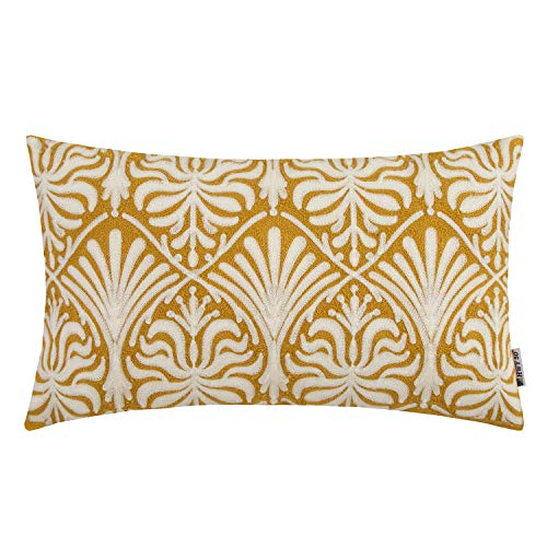 - HWY 50 Yellow Decorative Embroidered Throw Pillow Covers Cushion Cases for Couch Sofa Bedroom Small Rectangle Lumbar Floral 12x20 inch 1 Piece
