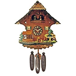 River City Clocks MD816-14 Eight Day Musical Chalet Cuckoo Clock with Dancers, Men Saw Wood And Waterwheel Turns, 14-Inch Tall