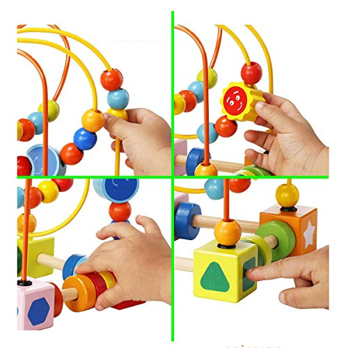 Agirlgle Wooden Baby Toddler Toys First Bead Maze Roller ...
