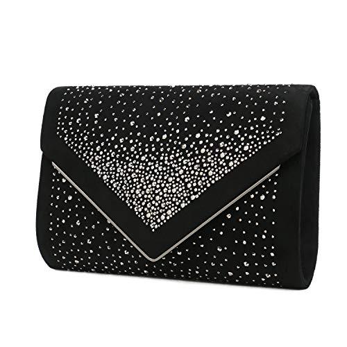 Charming Tailor Envelope Purse Formal Faux Suede Clutch Rhinestone Evening Bag for Women Party Handbag (Black/ruthenium)