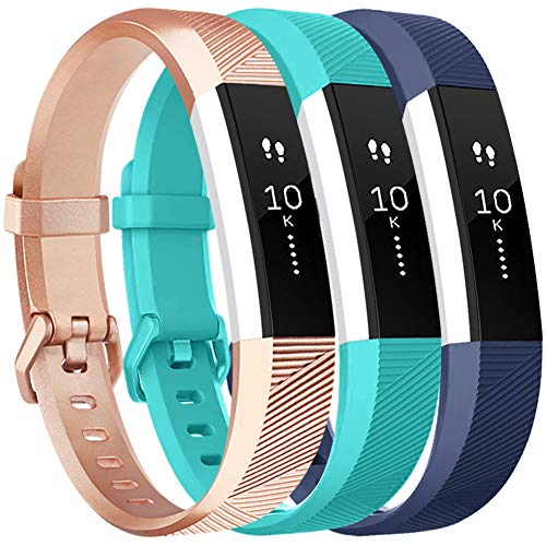 Vancle Bands Replacement for Fitbit Alta HR and Fitbit Alta (3 Pack), Newest Sport Replacement Wristbands with Secure Metal Buckle for Fitbit Alta HR/Fitbit Alta (Rose-Gold Teal Blue, Large)