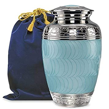 Hugs and Kisses Light Blue Adult Urn for Human Ashes – This Large Elegant Light Blue Enamel and Nickel Urn is a Perfect Tribute to Honor Your Loved One- w Velvet Bag