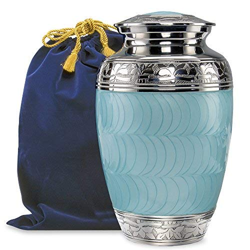 One Light Urn - Hugs and Kisses Light Blue Adult Urn for Human Ashes - This Large Elegant Light Blue Enamel and Nickel Urn is a Perfect Tribute to Honor Your Loved One- w Velvet Bag
