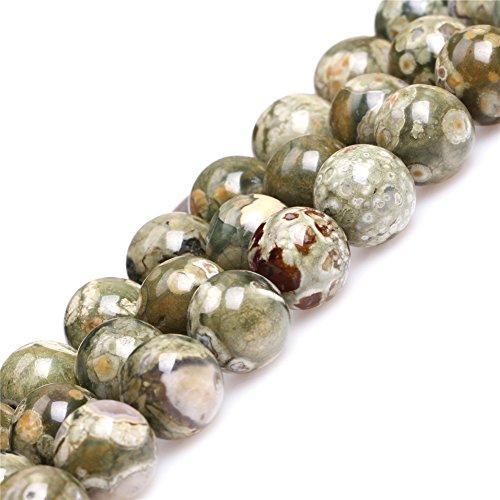 JOE FOREMAN 10mm Green Australia Butter Jasper Semi Precious Gemstone Round Loose Beads for Jewelry Making DIY Handmade Craft Supplies 15