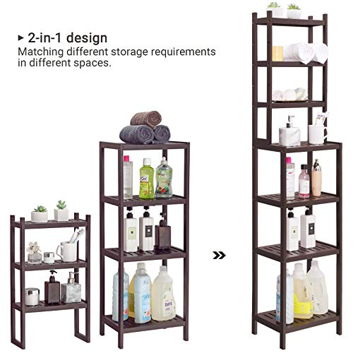 SONGMICS 7-Tier Bamboo Bathroom Shelf, 2-in-1 Design Adjustable Storage Rack, Free Standing Multifunctional Organizer, Shelving Unit for Washroom, Living Room, Kitchen, Brown UBCR01BR, 1603628 cm, by SONGMICS (Image #1)