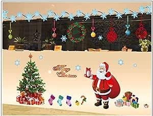 ملصقات الحائط DIY عيد الميلاد زجاج نافذة مهرجان الشارات سانتا الجداريات السنة الجديدة ديكورات عيد الميلاد للديكور المنزل مم