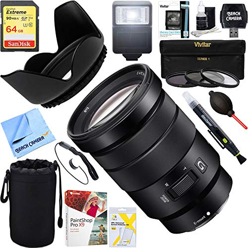 Sony (SEL1635Z 16-35mm Vario-Tessar T FE F4 ZA OSS Full-Frame E-Mount Lens + 64GB Ultimate Filter & Flash Photography Bundle