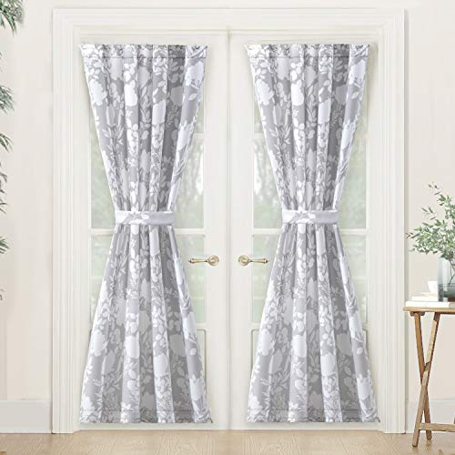 DriftAway Floral Delight Door Curtain, Room Darkening Privacy French Door Panel for Patio Sliding Window,Single Rod Pocket Curtain with Bonus Matching Tieback, 52
