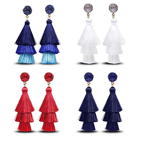 8Eninine 18040632 Pendientes de Regalo para Mujer Pendientes Pendientes de Metal Joyas Colgantes Azul Marino