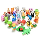 GoaPly 30PCS Mini Animals Erasers Cute Erasers Set Japanese Puzzle Eraser Novelty Erasers Toys for Boys and Girls Party Favors Gift Educational Toys.