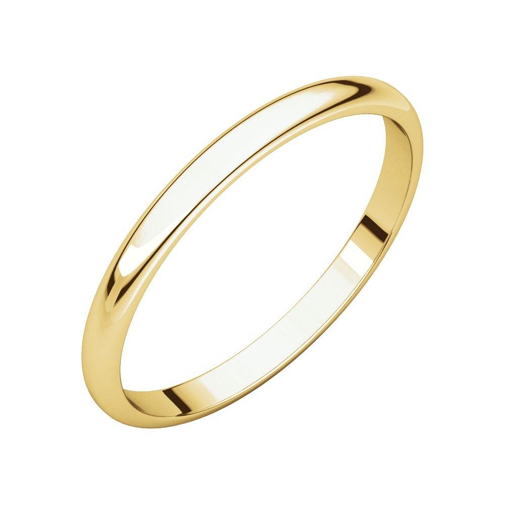 Size 10.5 Bonyak Jewelry 14k Yellow Gold 2 mm Half Round Lightweight Band