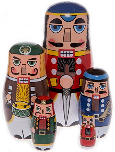 Russian Nutcracker - Moonmo 5pcs Beautiful Handmade Wooden Russia Nesting Dolls Gift Russian Nesting Wishing Dolls Nutcracker Matryoshka Traditional.