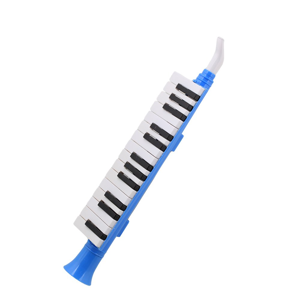 Yibuy Blue Plastic 27 Keys Melodica Mouth Organ Wind Piano QM27A Black White Keyboard for Kids