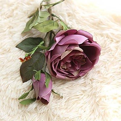 Vovomay Flores Artificiales Hoja, Flores Falso Seda Rosas Reales Vintage Floral - Ramo de Boda Novia para Hogar Jardín Fiesta Boda Decoración