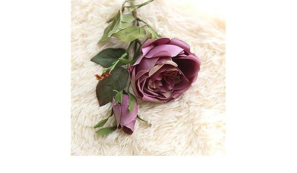 Vovomay Flores Artificiales Hoja, Flores Falso Seda Rosas Reales Vintage Floral - Ramo de Boda Novia para Hogar Jardín Fiesta Boda Decoración: Amazon.es: ...