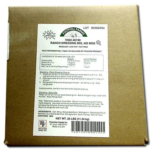 Foothill Farms Ranch Dressing Mix No Msg - 25 Pound -- 1 Each -- 1 Case