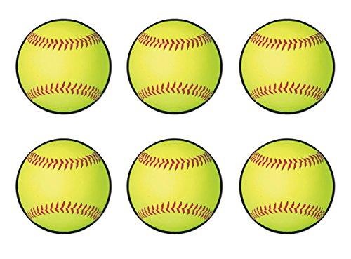 Beistle Yellow 54765, 6 Piece Softball Cutouts, 10