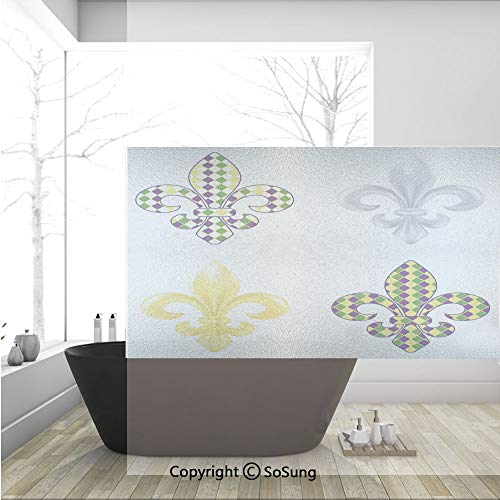 Autumn Colored Grasses - 3D Decorative Privacy Window Films,Fleur De Lis Motifs with Mardi Gras Pattern Traditional Lily Flowers Collection,No-Glue Self Static Cling Glass film for Home Bedroom Bathroom Kitchen Office 36x24 I