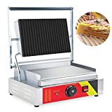 Genmine Electric Countertop Griddle Commercial Stainless steel Flat Top Griddle Commercial Restaurant Grill Adjust 2200W 110V