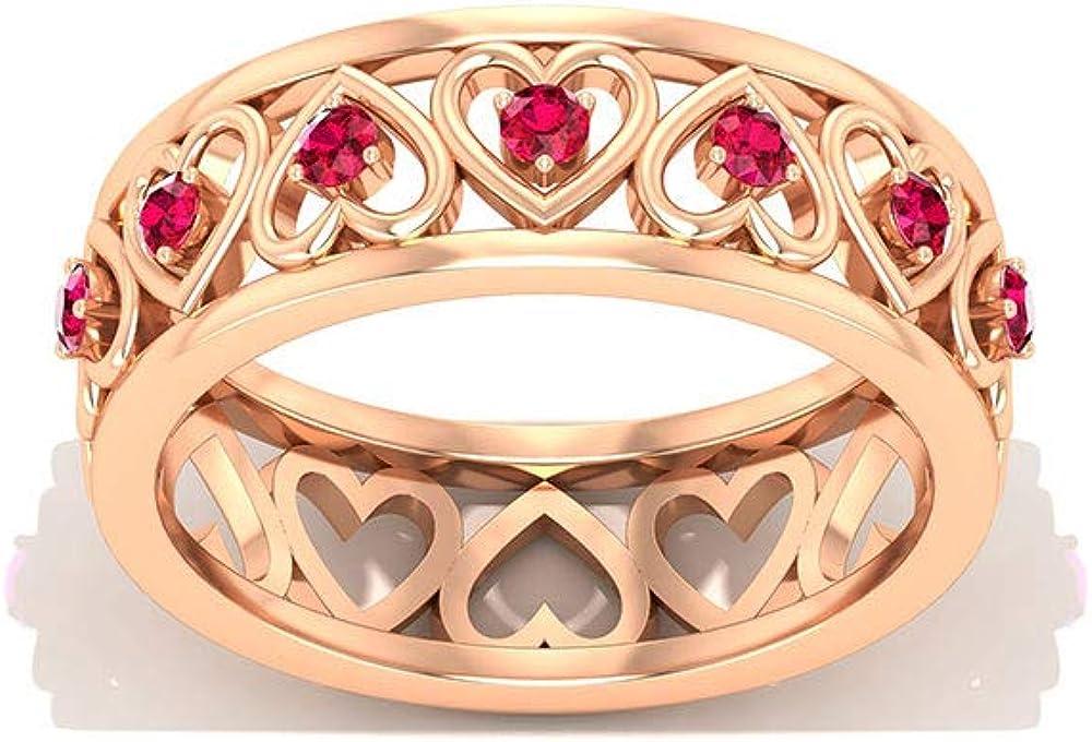 Anillo de eternidad de corazón de rubí, anillo de boda de banda ancha, anillo de piedras preciosas de julio, anillo de promesa para ella