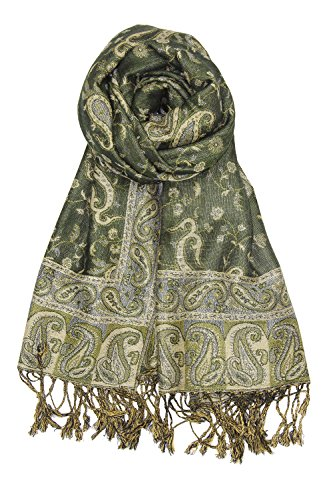 Green Paisley Scarf (Achillea Soft Silky Reversible Paisley Pashmina Shawl Wrap Scarf w/ Fringes (Dark Olive))