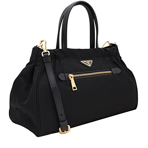 eeb7558526f Amazon.com  Prada Women s Tessuto Nylon   Saffiano Leather Trim Shoulder Tote  Bag Black 1BA843  Shoes