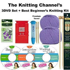 3 DVD Set + The Best Beginner's Knitting Kit