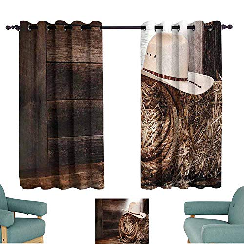 HCCJLCKS Decorative Curtains for Living Room Western American West Rodeo Hat with Traditional Ranching Robe on Wooden Ground Folk Art Photo Set of Two Panels W63 xL45 Brown Beige
