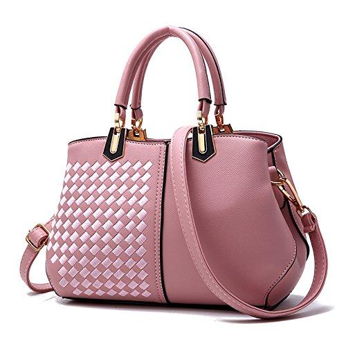 Negro Match Tejida Bolso Tejido braided Pink Bolso Todos Hombro two GUANGMING77 Dos Lady Style Estilo Señoras qPxgCa